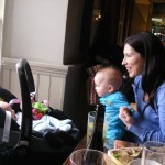 Mummy, William and Esther at lunch