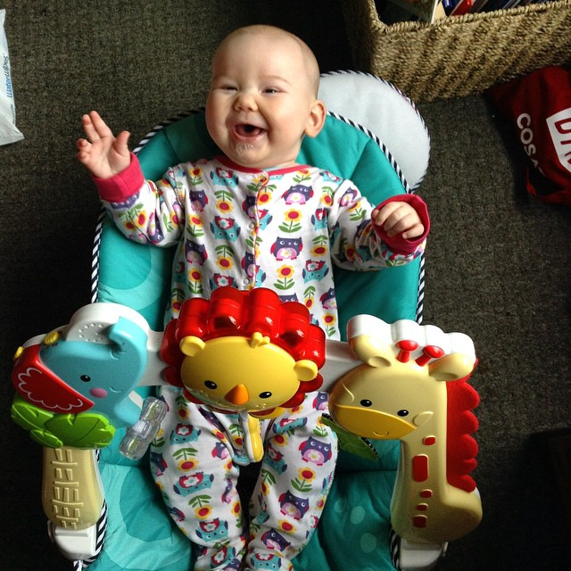 My giant 4 month old has outgrown her bouncy chair!  She is very pleased with herself x