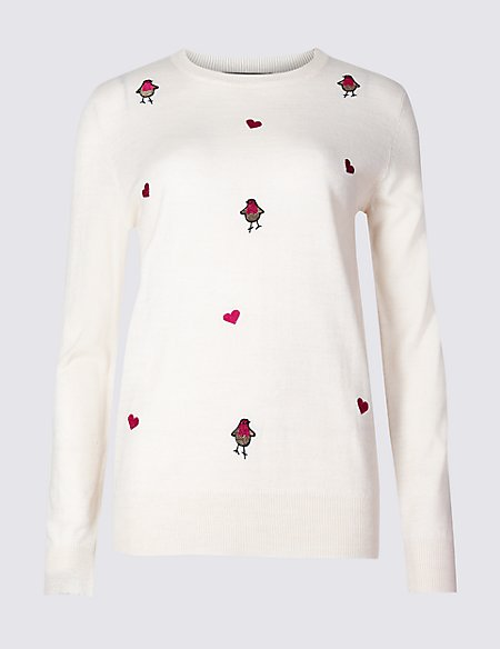 m and s embroidered robins